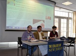 Panelists Christopher Hornyak, Nicholas Bellino, and Angela Hontau debate justice in the gaming industry.
